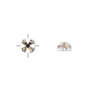 bead, swarovski crystals and silver-plated pewter (tin-based alloy), crystal golden shadow, 6.32-6.5mm rose montees (53100), ss30. sold per pkg of 720 (5 gross).