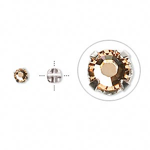 bead, swarovski crystals and silver-plated pewter (tin-based alloy), light colorado topaz, 3.8-4mm rose montees with 0.75-0.85mm hole (53102), ss16. sold per pkg of 1,440 (10 gross).