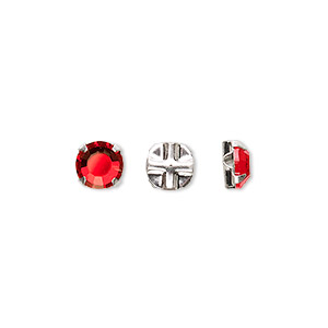 bead, swarovski crystals and silver-plated pewter (tin-based alloy), light siam, 6.32-6.5mm rose montees (53103), ss30. sold per pkg of 720 (5 gross).