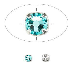 bead, swarovski crystals and silver-plated pewter (tin-based alloy), light turquoise, 3.8-4mm rose montees with 0.75-0.85mm hole (53102), ss16. sold per pkg of 1,440 (10 gross).