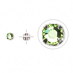 bead, swarovski crystals and silver-plated pewter (tin-based alloy), peridot, 3.8-4mm rose montees with 0.75-0.85mm hole (53102), ss16. sold per pkg of 1,440 (10 gross).
