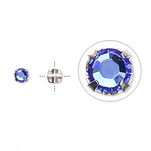 bead, swarovski crystals and silver-plated pewter (tin-based alloy), sapphire, 3.8-4mm rose montees with 0.75-0.85mm hole (53102), ss16. sold per pkg of 24.