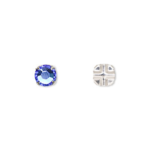bead, swarovski crystals and silver-plated pewter (tin-based alloy), sapphire, 6.32-6.5mm rose montees (53103), ss30. sold per pkg of 720 (5 gross).