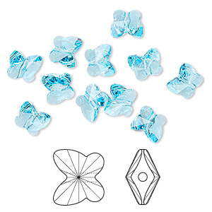 bead, swarovski crystals, aquamarine, 10x9mm faceted butterfly (5754). sold per pkg of 288 (2 gross).