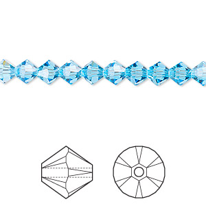 bead, swarovski crystals, aquamarine, 5mm xilion bicone (5328). sold per pkg of 24.