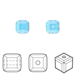 bead, swarovski crystals, aquamarine, 8x8mm faceted cube (5601). sold per pkg of 48.