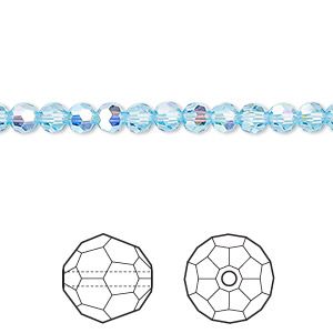 bead, swarovski crystals, aquamarine ab, 4mm faceted round (5000). sold per pkg of 720 (5 gross).