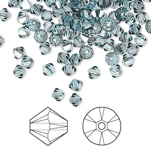 bead, swarovski crystals, aquamarine satin, 4mm xilion bicone (5328). sold per pkg of 1,440 (10 gross).