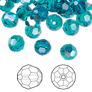 bead, swarovski crystals, blue zircon ab, 8mm faceted round (5000). sold per pkg of 288 (2 gross).