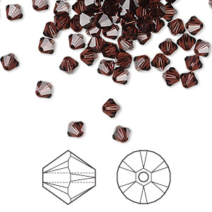 bead, swarovski crystals, burgundy, 4mm xilion bicone (5328). sold per pkg of 1,440 (10 gross).