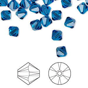bead, swarovski crystals, capri blue, 6mm xilion bicone (5328). sold per pkg of 24.