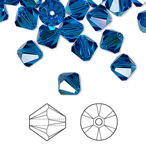 bead, swarovski crystals, capri blue ab, 8mm xilion bicone (5328). sold per pkg of 288 (2 gross).