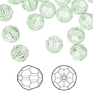 bead, swarovski crystals, chrysolite, 8mm faceted round (5000). sold per pkg of 288 (2 gross).