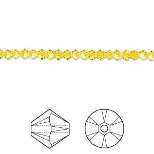 bead, swarovski crystals, citrine, 3mm xilion bicone (5328). sold per pkg of 1,440 (10 gross).