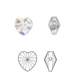 bead, swarovski crystals, crystal ab, 10x10mm faceted heart (5742). sold per pkg of 288 (2 gross).