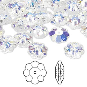 bead, swarovski crystals, crystal ab, 10x3.5mm faceted marguerite lochrose flower (3700). sold per pkg of 288 (2 gross).