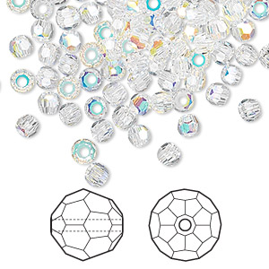 bead, swarovski crystals, crystal ab, 2mm faceted round (5000). sold per pkg of 1,440 (10 gross).