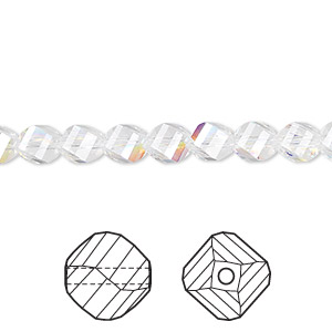 bead, swarovski crystals, crystal ab, 6mm faceted helix (5020). sold per pkg of 360.