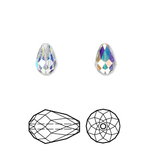 bead, swarovski crystals, crystal ab, 9x6mm faceted teardrop (5500). sold per pkg of 144 (1 gross).