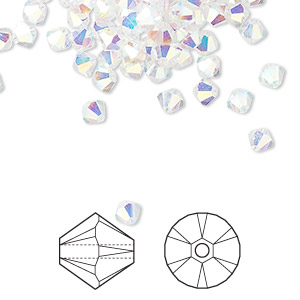 bead, swarovski crystals, crystal ab2x, 4mm xilion bicone (5328). sold per pkg of 1,440 (10 gross).