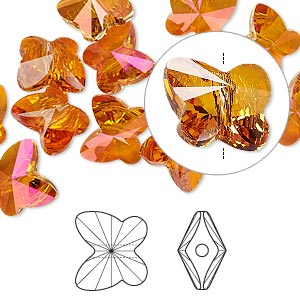 bead, swarovski crystals, crystal astral pink, 10x9mm faceted butterfly (5754). sold per pkg of 288 (2 gross).