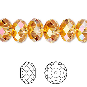bead, swarovski crystals, crystal astral pink, 12x8mm faceted rondelle (5040). sold per pkg of 144 (1 gross).