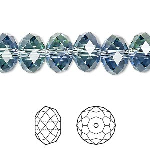 bead, swarovski crystals, crystal blend colors, crystal passions, provence lavender and chrysolite, 12x8mm faceted rondelle (5040). sold per pkg of 2.