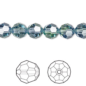 bead, swarovski crystals, crystal blend colors, provence lavender and chrysolite, 8mm faceted round (5000). sold per pkg of 288 (2 gross).