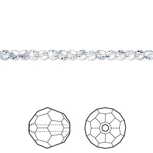 bead, swarovski crystals, crystal blue shade, 3mm faceted round (5000). sold per pkg of 720 (5 gross).