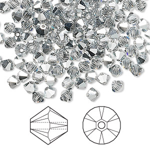 bead, swarovski crystals, crystal cal, 4mm xilion bicone with 0.8mm hole (5328). sold per pkg of 1,440 (10 gross).