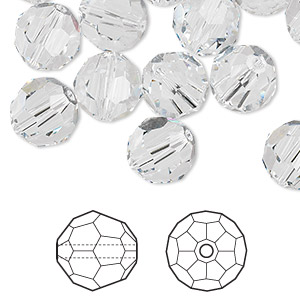 bead, swarovski crystals, crystal clear, 10mm faceted round (5000). sold per pkg of 144 (1 gross).