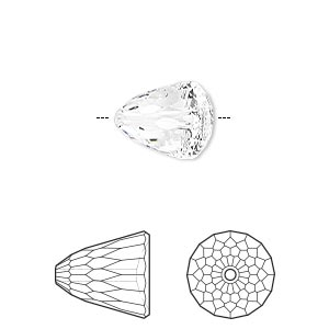 bead, swarovski crystals, crystal clear, 11x10mm faceted dome large (5541). sold per pkg of 96.