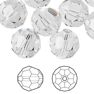 bead, swarovski crystals, crystal clear, 14mm faceted round (5000). sold per pkg of 72.