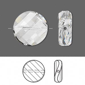 bead, swarovski crystals, crystal clear, 18mm faceted twist with 1.1-1.7mm hole (5621). sold per pkg of 2.