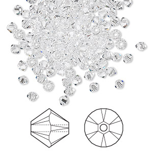 bead, swarovski crystals, crystal clear, 3mm xilion bicone (5328). sold per pkg of 1,440 (10 gross).
