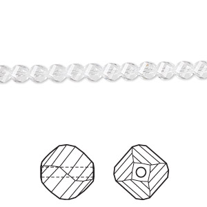 bead, swarovski crystals, crystal clear, 4mm faceted helix (5020). sold per pkg of 144 (1 gross).