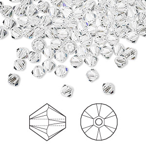 bead, swarovski crystals, crystal clear, 4mm xilion bicone (5328). sold per pkg of 1,440 (10 gross).