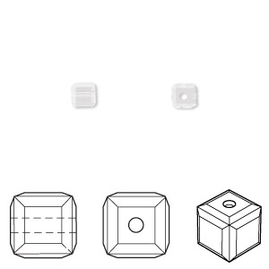 bead, swarovski crystals, crystal clear, 4x4mm faceted cube (5601). sold per pkg of 288 (2 gross).