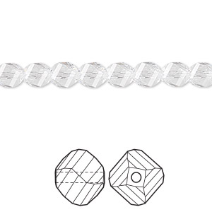 bead, swarovski crystals, crystal clear, 6mm faceted helix (5020). sold per pkg of 360.