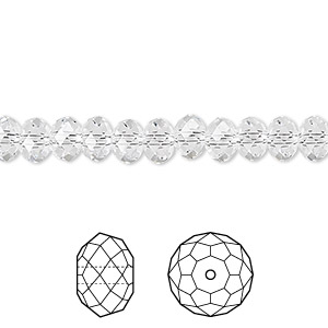 bead, swarovski crystals, crystal clear, 6x4mm faceted rondelle (5040). sold per pkg of 360.