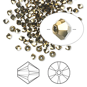 bead, swarovski crystals, crystal dorado 2x, 3mm xilion bicone (5328). sold per pkg of 1,440 (10 gross).