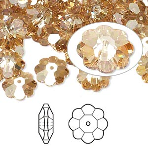 bead, swarovski crystals, crystal golden shadow, 10x3.5mm faceted marguerite lochrose flower (3700). sold per pkg of 288 (2 gross).