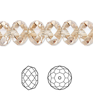 bead, swarovski crystals, crystal golden shadow, 12x8mm faceted rondelle (5040). sold per pkg of 144 (1 gross).