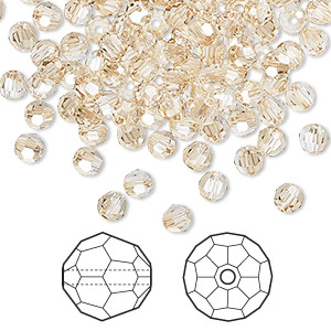 bead, swarovski crystals, crystal golden shadow, 4mm faceted round (5000). sold per pkg of 144 (1 gross).