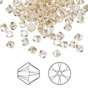 bead, swarovski crystals, crystal golden shadow, 4mm xilion bicone (5328). sold per pkg of 1,440 (10 gross).