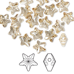 bead, swarovski crystals, crystal golden shadow, 8x8mm faceted star (5714). sold per pkg of 288 (2 gross).