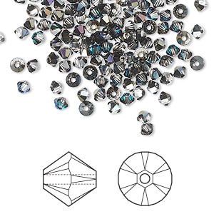 bead, swarovski crystals, crystal heliotrope, 3mm xilion bicone (5328). sold per pkg of 1,440 (10 gross).