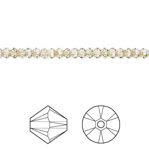 bead, swarovski crystals, crystal luminous green, 3mm xilion bicone (5328). sold per pkg of 1,440 (10 gross).