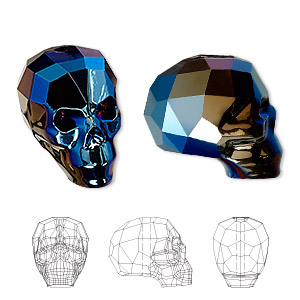 bead, swarovski crystals, crystal metallic blue 2x, 19x18x14mm faceted skull (5750). sold per pkg of 12.
