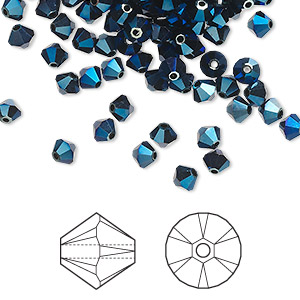 bead, swarovski crystals, crystal metallic blue 2x, 4mm xilion bicone (5328). sold per pkg of 1,440 (10 gross).